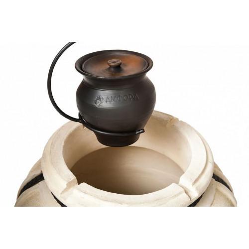 Чугунок керамический 2 л с крышкой и с ухватом Амфора