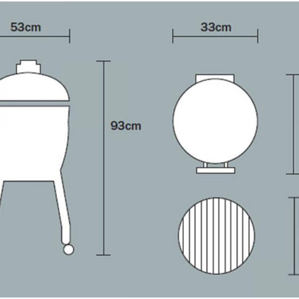 Угольный керамический гриль Junior PRO 2.0 Чёрный или Красный 33 см c тележкой Monolith